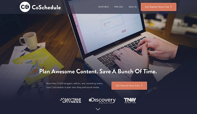 CoSchedule content marketing calendar homepage